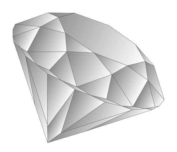 Grafik: Diamant mit Facettenschliff; Referenz