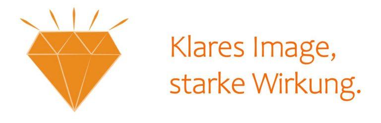 """Wort-Bild-Header: Diamant-Piktogramm mit Text """"Klares Image, starke Wirkung."""""""