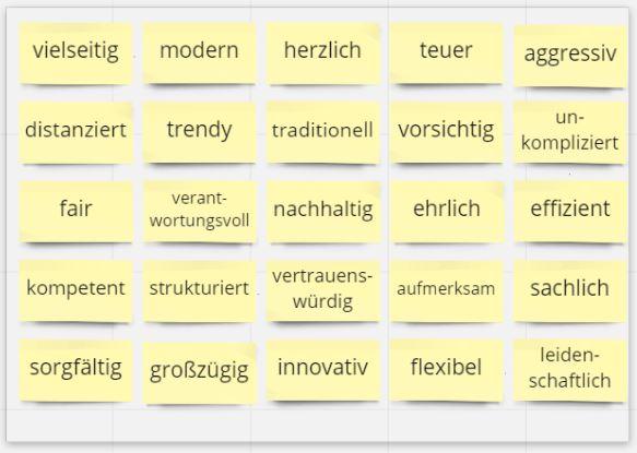 Foto: 25 Eigenschaftswörter auf Miro-Karten